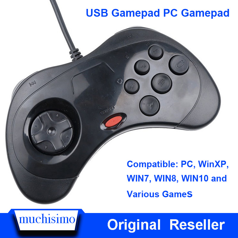 Wired 6 Buttons SEGA USB Classic Gamepad USB Game Controller Joypad For SEGA Genesis/MD PC/2 Y1301 /MAC Mega Drive Gamepad