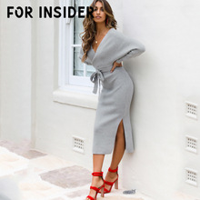 цена на For Insider Batwing sleeve cotton long dress sweater pullover Women autumn winter dress jumper Office lady black red dress festa