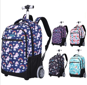 18 inch kids School Trolley bags Wheeled backpack bag on wheels  for teenagers Children School Rolling travel backpack for girls