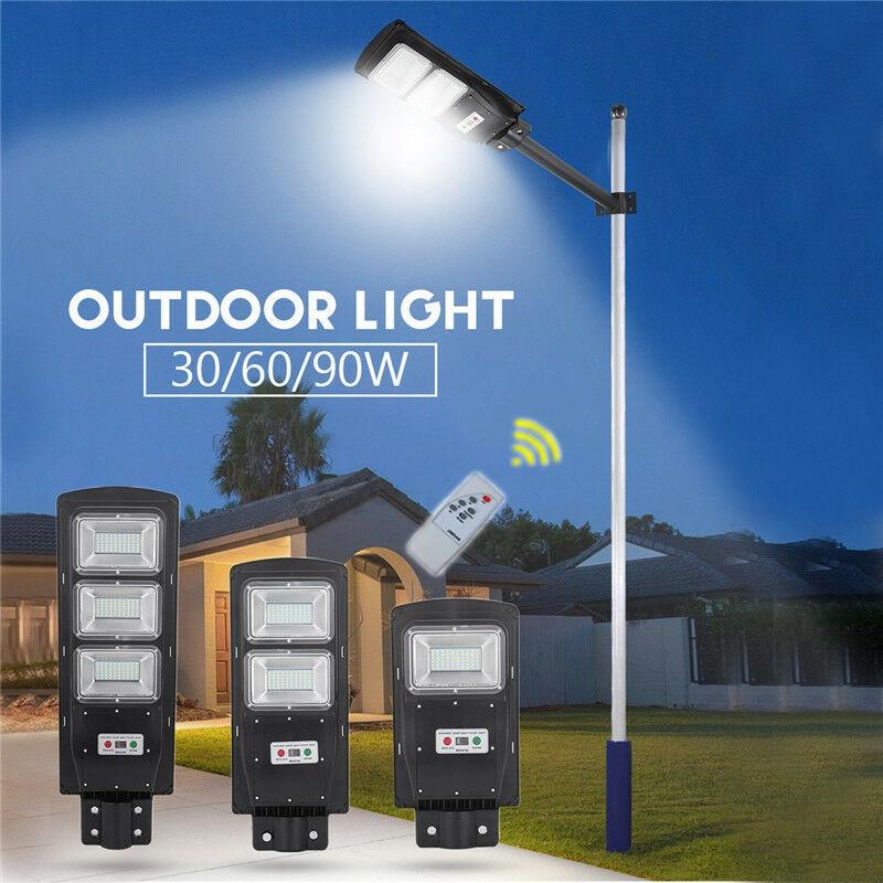 30/60/90W LED Solar Light Outdoors Street Garden Light Radar PIR Motion Sensor + Remote Control Lamp IP65 Waterproof Plaza Yard