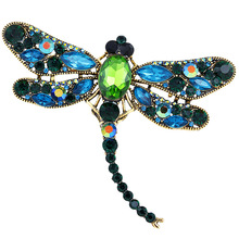 купить Crystal Vintage Dragonfly Brooches for Women Large Insect Brooch Pin Fashion Dress Coat Accessories Cute Jewelry Brand Luxury дешево