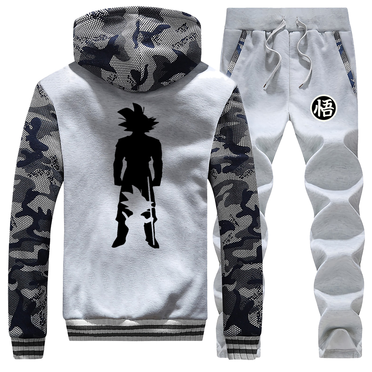 Japanese Anime Winter Camo Sets Dragon Ball Z Male Set Fleece Warm Jackets Harajuku Winter Zipper Coat Comfortable Tracksuit