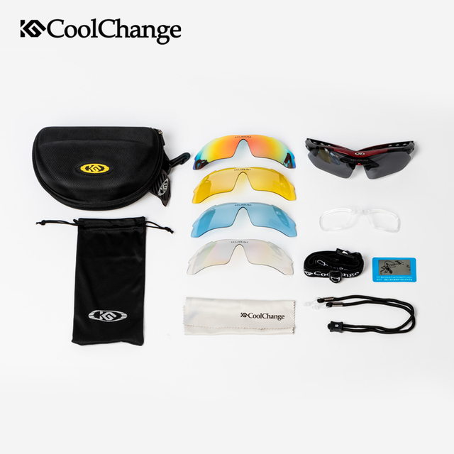 Coolchange polarizado profissional óculos de ciclismo óculos de bicicleta esportes ao ar livre óculos de sol com 5 lente quadro miopia 6