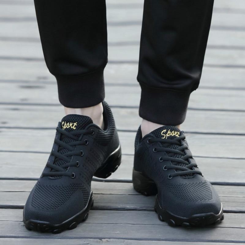 Malha sapatos de jazz moderno macio outsole dança tênis respirável sapatos de treinamento de fitness sapatos de dança de salão