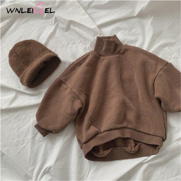 WLG Kids Winter Hoodies Baby Velvet Thick Turtleneck Long Sleeve Hoodie Boys Girls Warm All Match Sweatshirt 1-5 Years