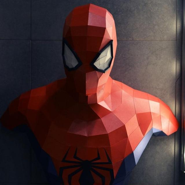 65cm 3d papel modelo Los vengadores de Marvel Spiderman Iron Man Batman Capitán América Papercraft acción figuras puzles juguetes de niños regalo