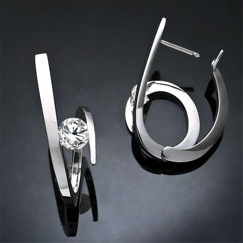 Blaike Creative Fashion 925 Silver Geometric Earrings For Women White Zircon Earring Wedding Party Jewelry Valentine's Day Gifts