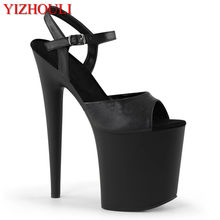 Nowy 8-cal szpilki 20 cm matowy czarny wampir, klub nocny lato pieczone lakier sandały, impreza etap sandały