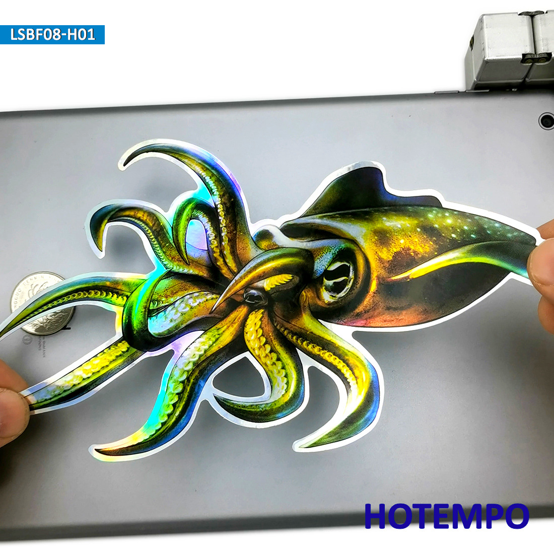 7.87inch 20cm Big Size Inkfish Laser Shining Fishing Giant Squid Architeuthis Outdoor Stickers For Laptop Luggage Car Stickers