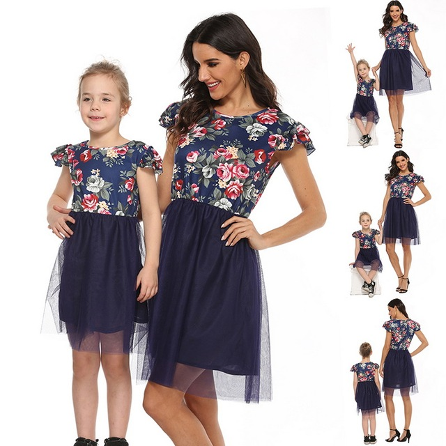 2020 Mother Daughter Dresses Short Sleeve Floral Short Dress Family Clothes Mom Daughter Princess Dress Family Matching Clothes 6