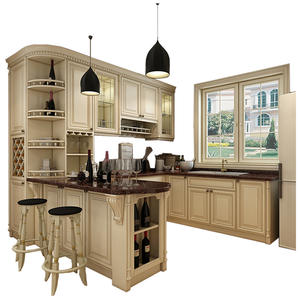 Customized made solid wood kitchen cabinet with plywood carcass