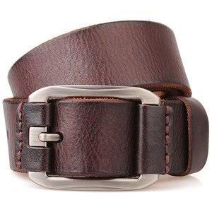 Image 4 - Cinghia degli uomini primo strato di pelle cintura di cuoio puro di modo della cinghia casuale degli uomini della cinghia di brown di colore pin fibbia di jean strap vintage cinto