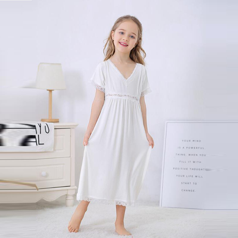 Dress Girl Clothing Sleepwear White Cotton 10year Summer Long 6-8 Lace V-Collar title=
