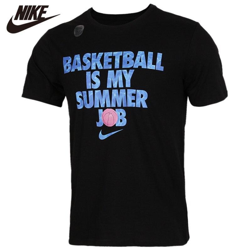 Original NIKE AS LBJ M NK DRY TEE Black T-Shirt Blue Logo Short Sleeve Shirts