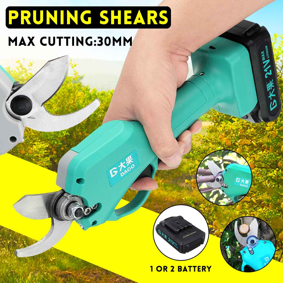 21V Wireless and Rechargeable Electric Garden Scissors for Pruning Branches with 30mm Maximum Cutting and 2 Li-ion Battery 1