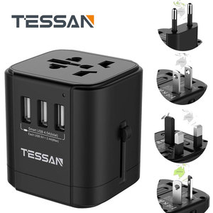 Image 1 - Tessan Du Lịch Đa Năng Điện Quốc Tế Cắm Sạc 3 Cổng USB Cho US/EU/AU/Vương Quốc Anh/FR/Ý Ổ Cắm Điện Cắm