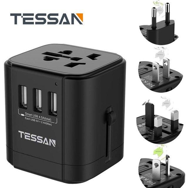Tessan Du Lịch Đa Năng Điện Quốc Tế Cắm Sạc 3 Cổng USB Cho US/EU/AU/Vương Quốc Anh/FR/Ý Ổ Cắm Điện Cắm