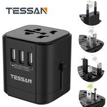 Tessan adaptateur de voyage universel adaptateur de prise internationale chargeur avec 3 USB pour prise de courant ca US/ue/AU/royaume uni/FR/italie