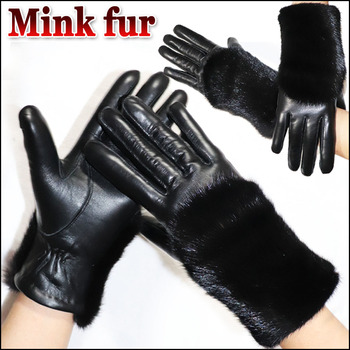 Ladies sheepskin gloves mink fur grass gloves windproof cold driving warmth thick touch screen winter new female leather gloves low temperature of liquid nitrogen gloves gloves cold freezing ice lng leather gloves