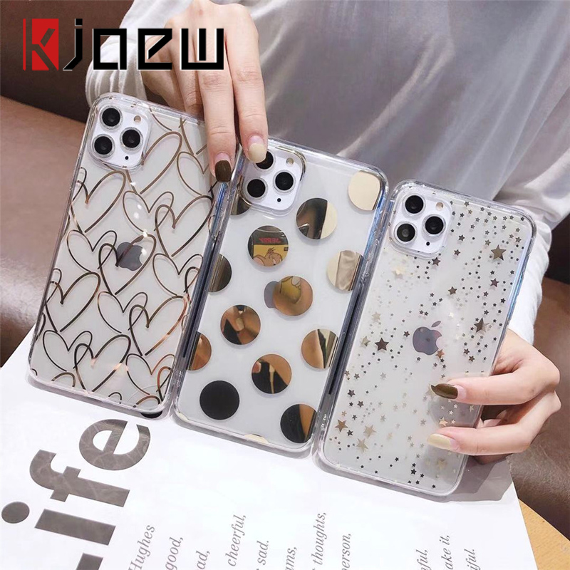 KJOEW Electroplated Transparent Phone Case For iPhone 11 Pro Max X XS XR Xs Max 6 6S 7 8 Plus Glitter Bling Laser Soft IMD Cover