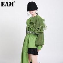 [EAM] camicetta di grandi dimensioni irregolare con volant verdi da donna camicia a maniche lunghe allentata con risvolto nuova moda marea primavera autunno 2021 1DA218