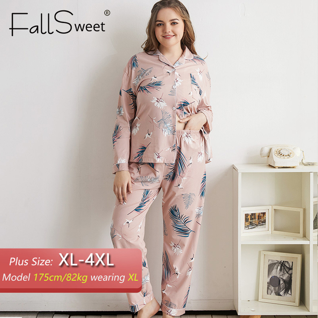 FallSweet 플러스 사이즈 잠옷 여성용 긴 소매 인쇄 잠옷 여성 잠옷 섹시한 Nightwear 4XL