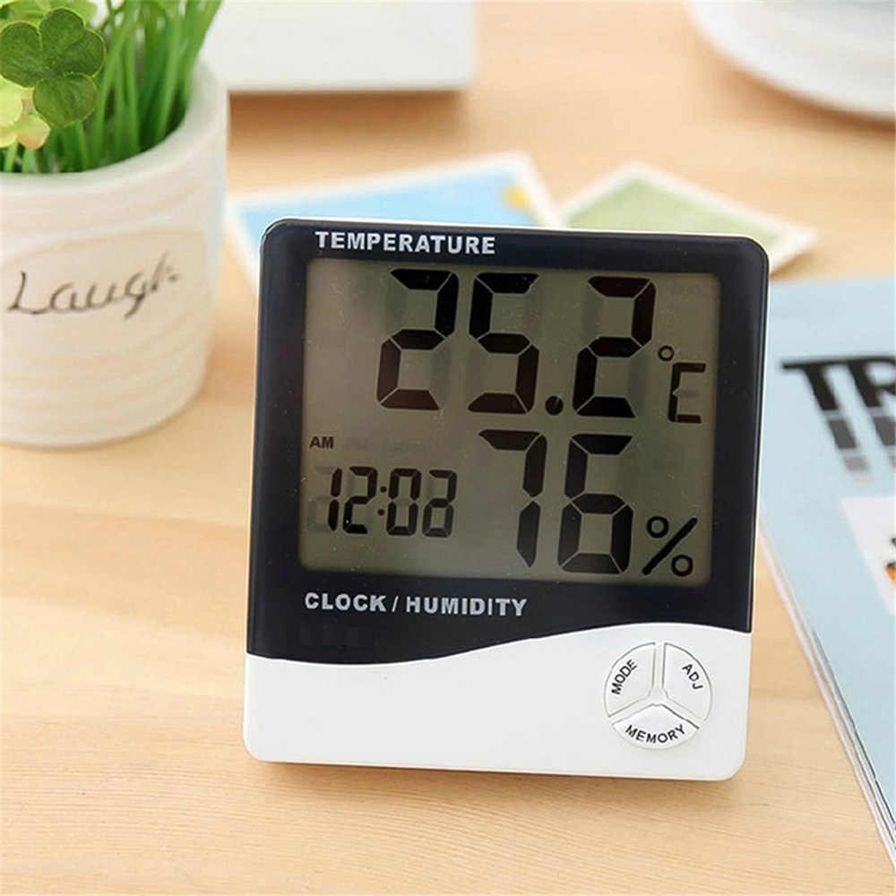 Electronic Digital Thermometer Hygrometer LCD Screen Indoor Outdoor Temperature Humidity Meter Weather Station with Alarm Clock