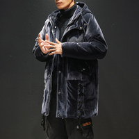Men's winter wear, Japanese cotton coat, long section thickening Cotton clothing large size warm jacket