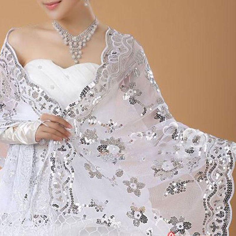 New Bride Wedding Dress Women Cheongsam Shawl White Lace Embroidered Sequins Long Shawls