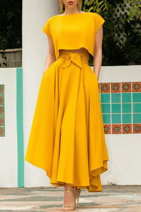 Hot Fashion Women's Vintage High Waist Skirts Ladies Maxi Solid Bandage Pleated Long Skirts Cocktail Party Summer A Line Skirts