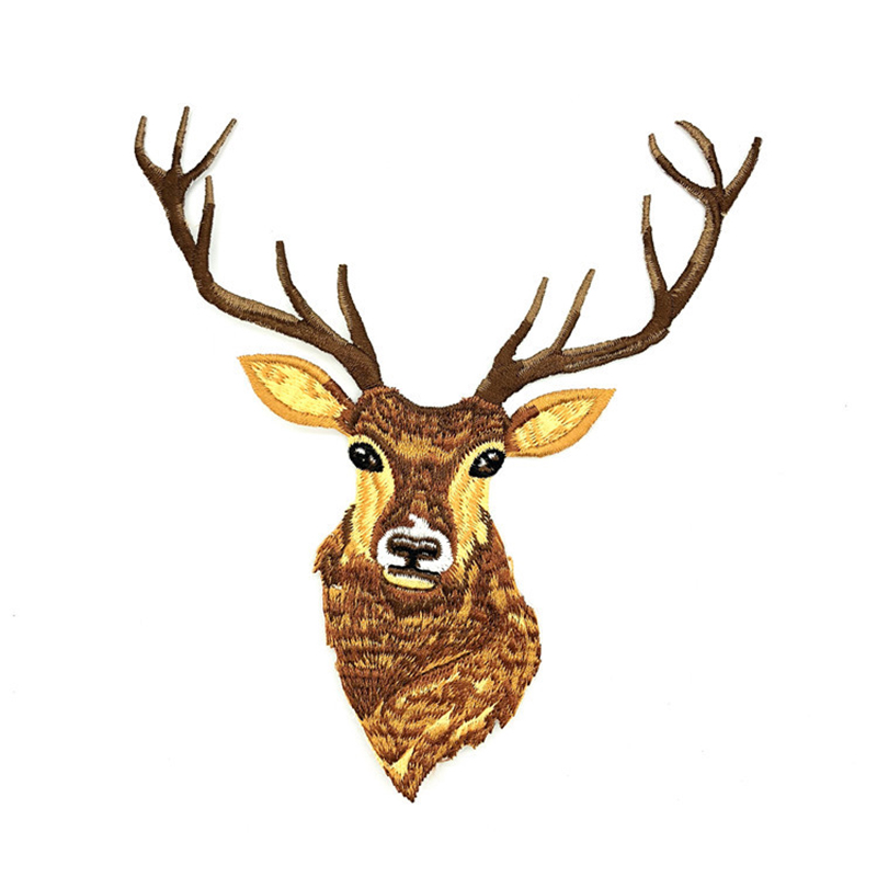 1pcs <font><b>Deer</b></font> Embroidery <font><b>Patch</b></font> for Clothing Iron-on <font><b>Patch</b></font> Applique DIY Hat Coat Dress Accessories Cloth Sticker image