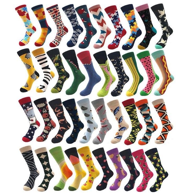 Fashion Man Combed Cotton Socks Fun Animal Fruit Flower Plant Geometric Pattern Socks Novelty Man Crew Socks Men Gift Socks