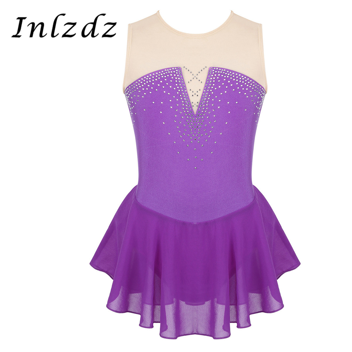 Kids Girls Gymnastics Swimsuit For Dancing Ballet Leotard Costume Sparkly Rhinestone Mesh Splice Skating Ballet Tutu Dance Dress
