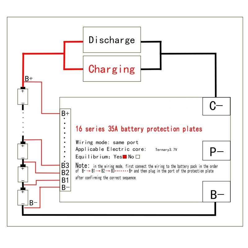 16 s 60 v 35a li-ion lítio 18650 bateria bms pcb placa de proteção com equilíbrio para e-bike escooter
