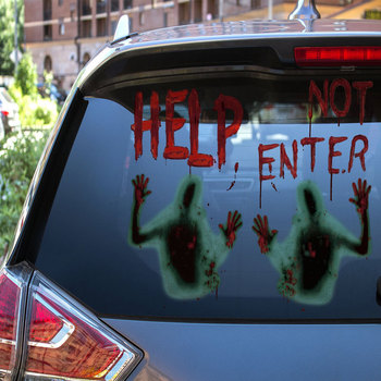 HELP DO NOT ENTER Haunted House Giant Bloody Eerie Door Window Sticker Poster Halloween Party Decoration Suppliers image