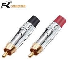 10 pares/20 piezas conector RCA conector macho liso plateado RCA Adaptador de audio chapado en oro negro y rojo Conector de altavoz pigtail para Cable de 7MM