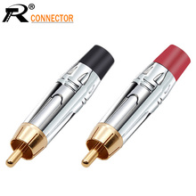 10pairs/20 stücke RCA Stecker Glatte Silve RCA stecker gold überzogene audio adapter black & red zopf lautsprecher stecker für 7MM Kabel