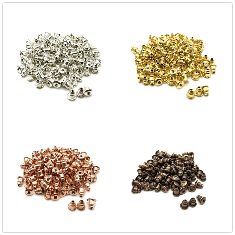100pcs DIY Craft Accessories Metal Earrings Back Earplugs, Gold And Silver Making Jewelry Accessories