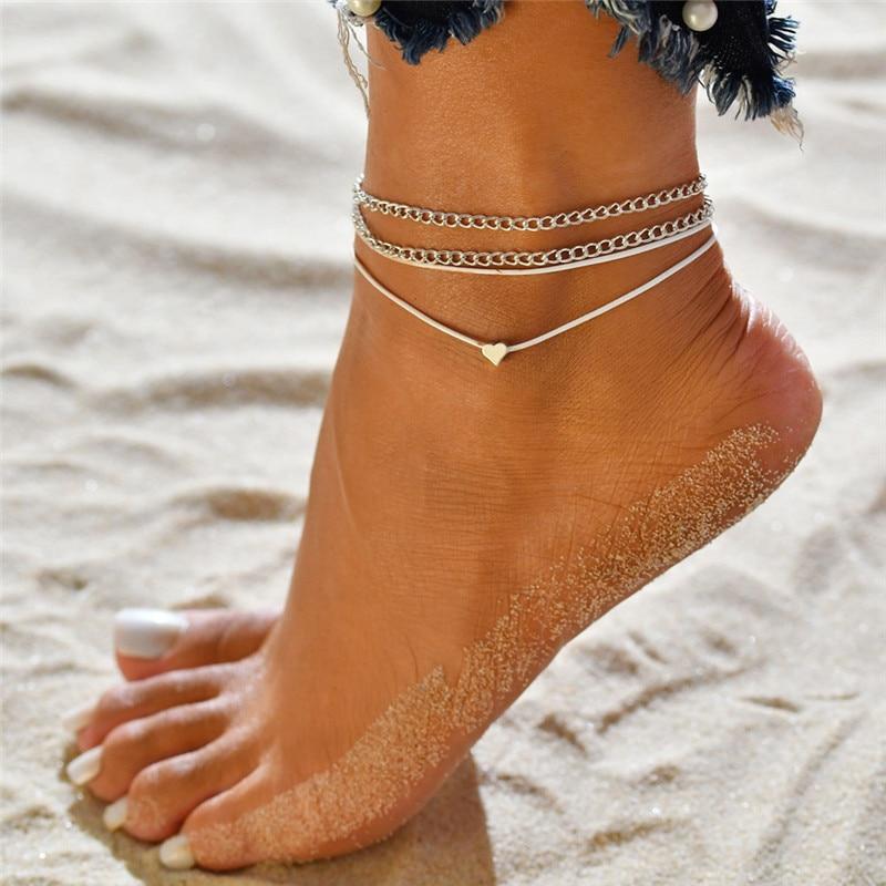 WUKALO Bohemian Silver Color Anklet Bracelet On The Leg Fashion Heart Female Anklets For Women Leg Chain Beach Foot Jewelry