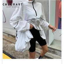 Cheerart Korean Long Sweatshirt Women Pullover Hoodies Zipper Sleeve Oversized With Drawstring Fall Clothing