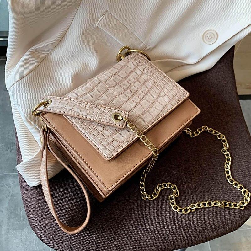 Retro Stone Pattern PU Leather Small Crossbody Bags For Women 2020 Chain Shoulder Messenger Bag Female Handbag