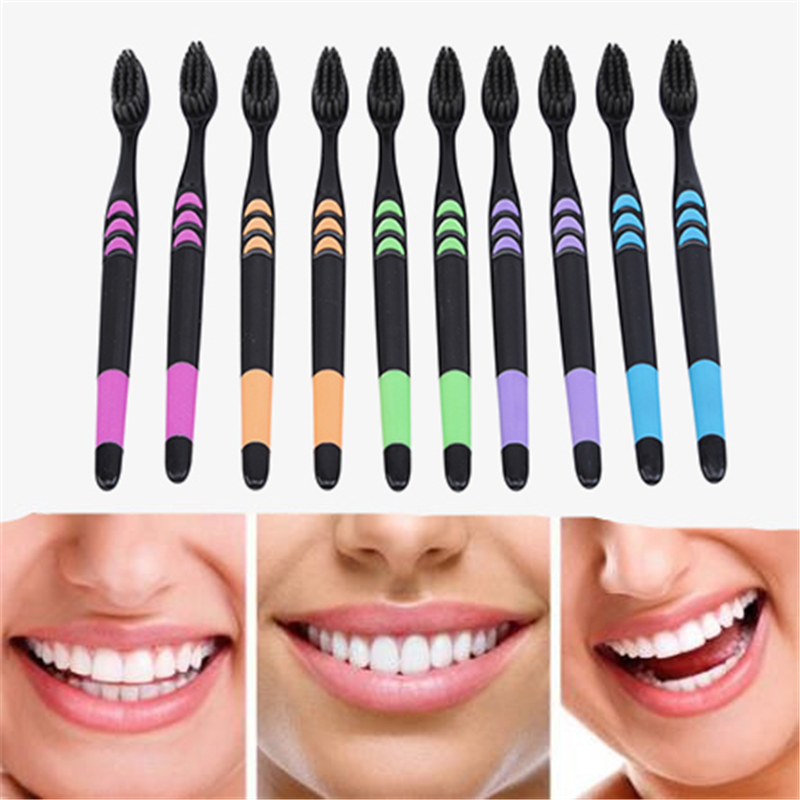 10PCS/Set Adults Soft Bristle Toothbrush Ecological Toothbrush Healthy Health Toothbrush Bamboo Charcoal Toothbrush image