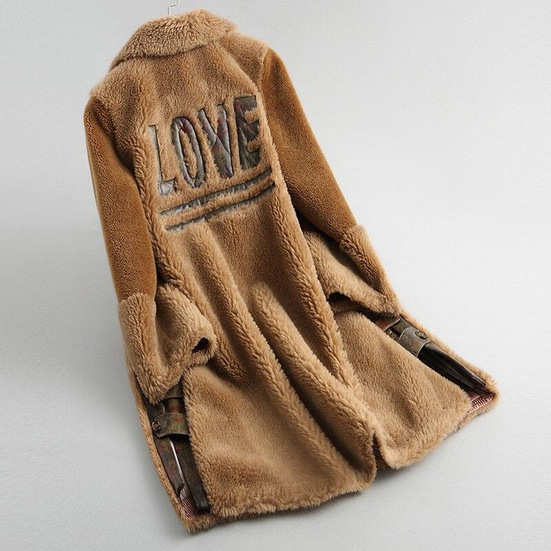 Sheep Women Shearing Coats Long Thick Real Wool Fur Coat Female 2020 Women's Lamb Fur Jacket Winter Jackets 18086 YQ1926 's S