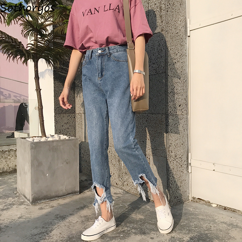 Jeans Women Ulzzang Hole High Quality Soft Streetwear Female New Thin Korean Style Loose High Waist Womens Trousers Chic Casual
