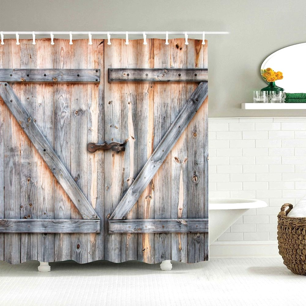 Image 3 - Dafield Fabric Rustic Vintage Old Wooden Door Decorations Bathroom Polyester Waterproof Washable Wood Door Shower Curtain-in Shower Curtains from Home & Garden