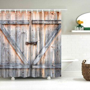 Image 3 - Dafield Fabric Rustic Vintage Old Wooden Door Decorations Bathroom Polyester Waterproof Washable Wood Door Shower Curtain
