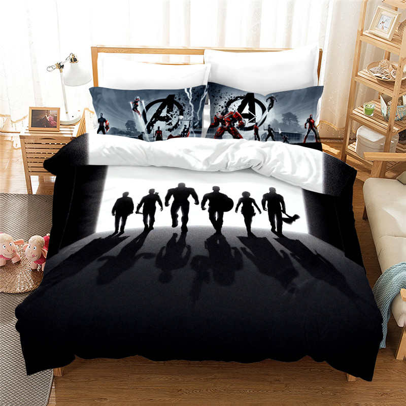 Black White The Avengers Heroes Bed Linens For Kids Quilt Duvet Cover Queen Bedspread Children's Room Twin Bedding Set King Size