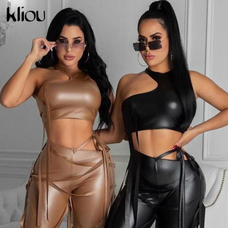 Kliou cintas Top corto mujeres 2021 PU sólida ajustados de cuero sintético de sin mangas Club sensual sin espalda parte de la calle estilo traje