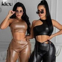 Kliou – rubans découpés pour femmes, Faux cuir PU solide, slim, sans manches, dos nu, Sexy, soirée en Club, Style de rue, 2021