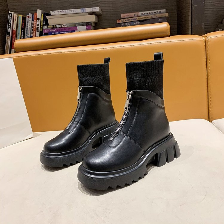 Martin boots women autumn punk shoes woman platform boots gothic stretch fabric ankle boots for women Ladies black boots zipper